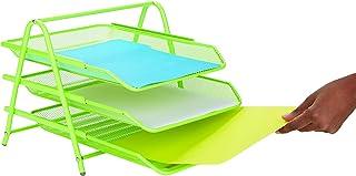 Mind Reader 书桌收纳盒带 3 个可放置信件、文件 3 Tier Green 3TPAPER-GRN