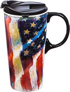 Cypress Home 老荣耀美国国旗陶瓷旅行咖啡杯带礼品盒,17 盎司