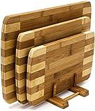 Relaxdays 竹切菜板3件套带支架,多种尺寸,3块砧板,现代和条纹设计,自然棕色