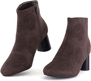 AOMO LOVE 女式侧拉链高叠层阔跟及踝时尚短靴
