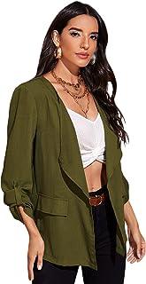 Romwe 女式开襟西装外套卷袖工作休闲夹克带口袋