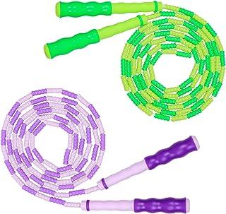 *软串珠跳绳,2 条装可调节缠结 - 自由分级健身跳绳,适合男士、女士和儿童,保持贴合、训练、锻炼和*(*和紫色)