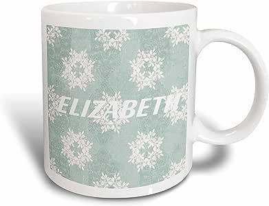 3drose florene 名字–白色 Elizabeth ON 雪花背景–马克杯 白色 11 oz