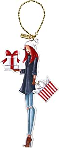 C.R. Gibson XOM-17424 Festive Winks Gift Giver Christmas Charm Ornament, Redhead
