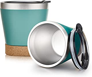 TJM 带盖酒杯 2 只装 9 盎司不锈钢双层真空酒杯带可拆卸木杯垫啤酒咖啡香槟办公室户外(蓝*)