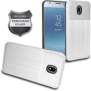 三星 Galaxy J3 (2018),J3 Achieve,J3 星,J3 Orbit,Sol 3,Express Prime 3,Amp Prime 3,J3 V J3V *三代 J337 - 混合保护套 + 钢化玻璃屏幕保护膜 银色
