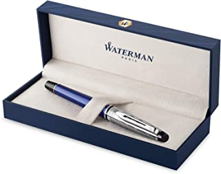 Waterman Expert Deluxe Fountain Pen, Blue with Chiselled Cap, Fine Nib with Blue Ink Cartridge, Gift Box