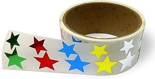 金属箔星形贴纸,各种尺寸,9.53 厘米和 2.54 厘米 - 每卷 476 个标签,卷上带有穿孔,每 10 个标签后 混色