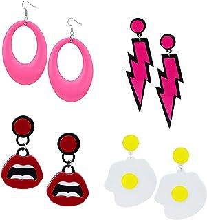 Florideco 4 对亚克力吊坠耳环套装适合女士女孩朋克风格水滴嘴煮蛋闪电珠宝