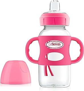 Dr. Brown's Sippy 喷嘴婴儿奶瓶,带 * 硅胶手柄 粉红色 9 盎司