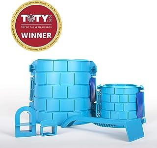 创建城堡 - 沙或雪城堡模具套装 - 5 件豪华建筑套装,配有多用途工具,战斗和窗户模具,1 个用于方便储存和清洁的网状背包 - 适合儿童和成人 5 Piece Deluxe Kit 蓝色