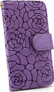 白色坚果茶花保护套保护壳翻盖式 紫色 3_ Galaxy Note SC-05D Samsung