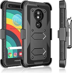 Moto E5 Play 保护套,摩托罗拉 Moto E5 巡航皮套夹,Tekcoo [Tshell] 减震 [内置屏幕] *旋转锁定皮带保护器全机身支架坚固的保护套盖 黑色