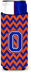 Caroline's Treasures CJ1044-OMUK Letter O Chevron Orange and Blue Michelob Ultra Koozie for slim Cans, Multicolor