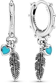 [PANDORA ] PANDORA Spiritual Feathers 绳子 耳环 (纯银 珐琅) 正规进口商品 297205EN168