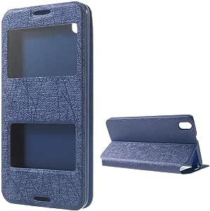 蓝色双窗口视图涂鸦线纹理皮革套带支架 适用于 HTC Desire 816