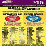 $15 全球直销无限电话卡 - 30 天可获得无限的国际和国内长途电话。