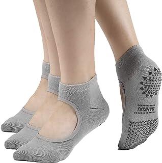 SANKUU 女士瑜伽袜,防滑袜带抓地力普拉提纯芭蕾舞