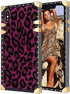 适用于 iPhone Xs Max 方形手机套铆钉保护套 优雅设计 方形 超薄防刮 坚固防震 TPU 手机壳 适用于 iPhone Xs Max 棕色EC1362-IXSM-5 iPhone XS Max 玫瑰红