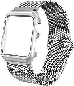 SIXRARI 兼容苹果手表表带表壳 42 毫米 38 毫米,米兰环不锈钢带磁扣和金属保护盖框架,可调节表带替换表带 适用于 Iwatch 系列 3 2 1 42 mm 银色