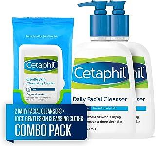 Cetaphil 丝塔芙 日常洁面乳,适合中性至油性皮肤,2瓶装*16盎司/473毫升+10张温和皮肤清洁布,适合干燥、敏感的皮肤(组合装)
