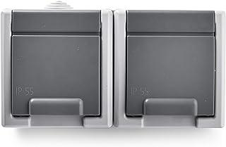 Famatel 19080 双插座,防水外部。 颜色:灰色。