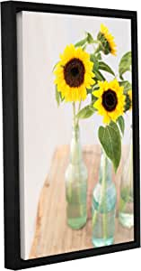 """ArtWall Elana Ray's Sunflowers in a Bottle Gallery Wrapped Floater Framed Canvas, 24 x 36"""", Multicolor"""
