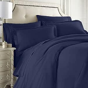 Clara Clark 全套 7 件套床上用品套装包括床笠和床单、羽绒被、枕套 深蓝色 全部 B003TTP9S2
