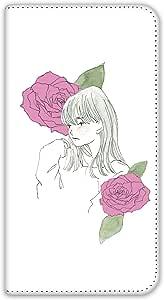 卡丽 壳 双面印刷手册 女孩和玫瑰 智能手机壳 手册式 对应全部机型 女の子とバラC 6_ らくらくスマートフォン プレミアム F-09E