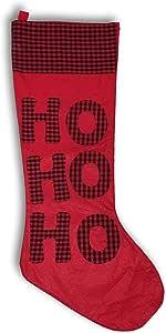 """圣诞长袜 大号尺寸 XL 码 88.9 厘米 - 水牛格子或闪光闪耀 Buffalo Plaid - Ho Ho Ho 35"""""""