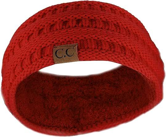 C.C 柔软弹力冬季保暖绞花针织毛绒内衬耳套  Red Ribbed One Size