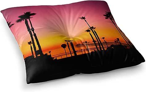 "KESS InHouse Juan Paolo""Pacific Dream"" Magneta 橙色方形枕垫 多种颜色 26"" x 26"" PO1023ASF02"