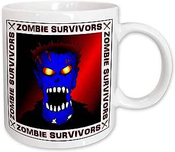 3dRose Zombies 蓝色僵尸白色陶瓷杯,425.24g