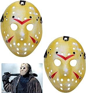 TinaWood 2 件装扮服 Jason Mask 角色扮演万圣节假面舞会恐怖面具圣诞节,适合男孩、男孩和成人