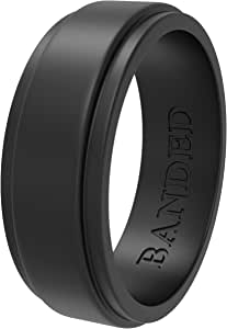 Silicone Wedding Rings Wedding Bands All Sizes for Active Men and Women, Fitness, Engineers, Sports, Weightlifting | Comfortable Fit, Skin Safe, Non-Toxic Soft Rubber Wedding Rings Men's Black 8