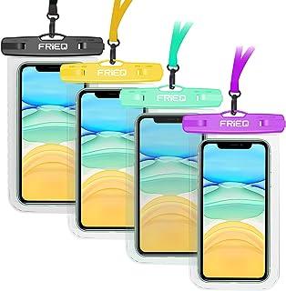 "FRiEQ 通用防水保护套,4 件装防水手机袋水下IPX8干袋兼容iPhone 11/11 Pro Max/Xs Max/XS/XR/X/8P, Galaxy S20/S10/S9, Google/HTC *大 7"""