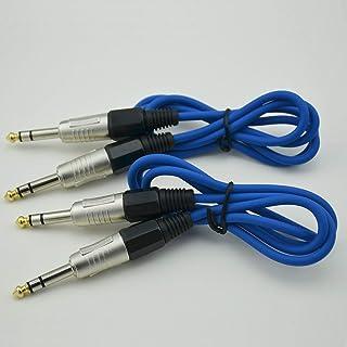 2 x 3 英尺(约 0.6 米)适配器电缆 Pc 音频线 6.35 毫米至 1/4 英寸(约 0.6 厘米)立体声公头插孔蓝色