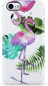 VIVIBIN iPhone 7 手机壳,iPhone 8 手机壳,女士可爱,透明缓冲软硅胶哑光TPU*佳保护盖纤薄贴合手机壳 iPhone 7/iPhone 8iphone 7/8 Case Flagmingo Leaves-153
