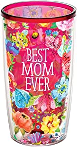 Tervis 1286453BEST Mom EVER 花卉隔热玻璃杯带披肩453.6gram 红宝石色 16盎司