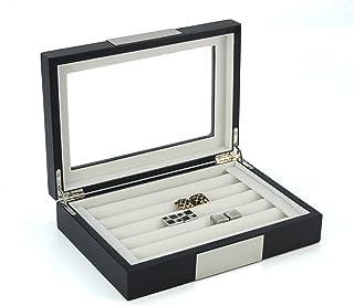黑色乌木袖扣盒和环扣收纳盒 不锈钢可雕刻设计 美味男士珠宝盒 20 个袖扣