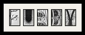 Art to Frames LetterArt-furby-289228-61/89-FRBW26079 字母艺术/字母摄影相框 - FURBY - 带 5-4x6 开口。 和缎面黑色框架
