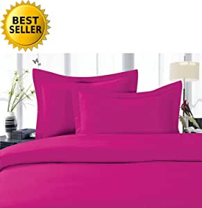 Elegant Comfort 4-Piece 1500 Thread Count Egyptian Quality Hypoallergenic Ultra Soft Wrinkle, Fade, Stain Resistant Bed Sheet Sets with Deep Pockets, All Sizes and Many Colors Available, #1 Bed Sheet Set on Amazon - SALE - HIGHEST QUALITY 桃红色 两个
