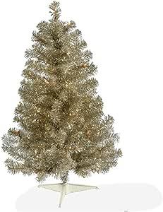 "Vickerman 香槟人造圣诞树,105 个 PVC 头和 50 个 Dura-light 迷你灯 Clear Dura-lit Lights 3' x 19"" B982431"