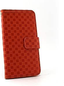ホワイトナッツ 市松柄 ケース 手帳型 オレンジレッド 4_ AQUOS PHONE IS13SH