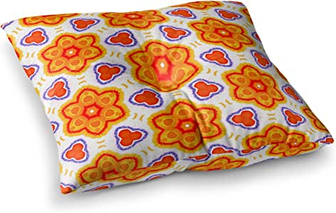 "KESS InHouse Miranda Mol""万花筒花"" 橙色红色花卉方形枕 多种颜色 23"" x 23"" MM4127ASF01"