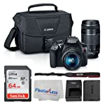 Canon EOS Rebel DSLR T6 相机机身 + 佳能 EF-S 18-55mm IS II 镜头 & EF 75-300mm III 镜头 + 佳能 EOS 单肩包(黑色)+ SanDisk SDXC 64GB 内存卡...