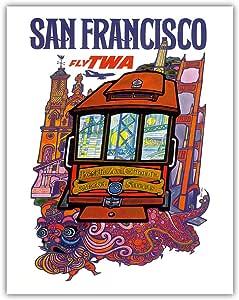 "Pacifica 岛艺术旧金山加州 - 飞越世界航空公司 - Presidio Ave、California & Market Street 电缆车 - David Klein 复古航空旅行海报 c.1960 - 精美艺术印刷品 11"" x 14"" APB4189"
