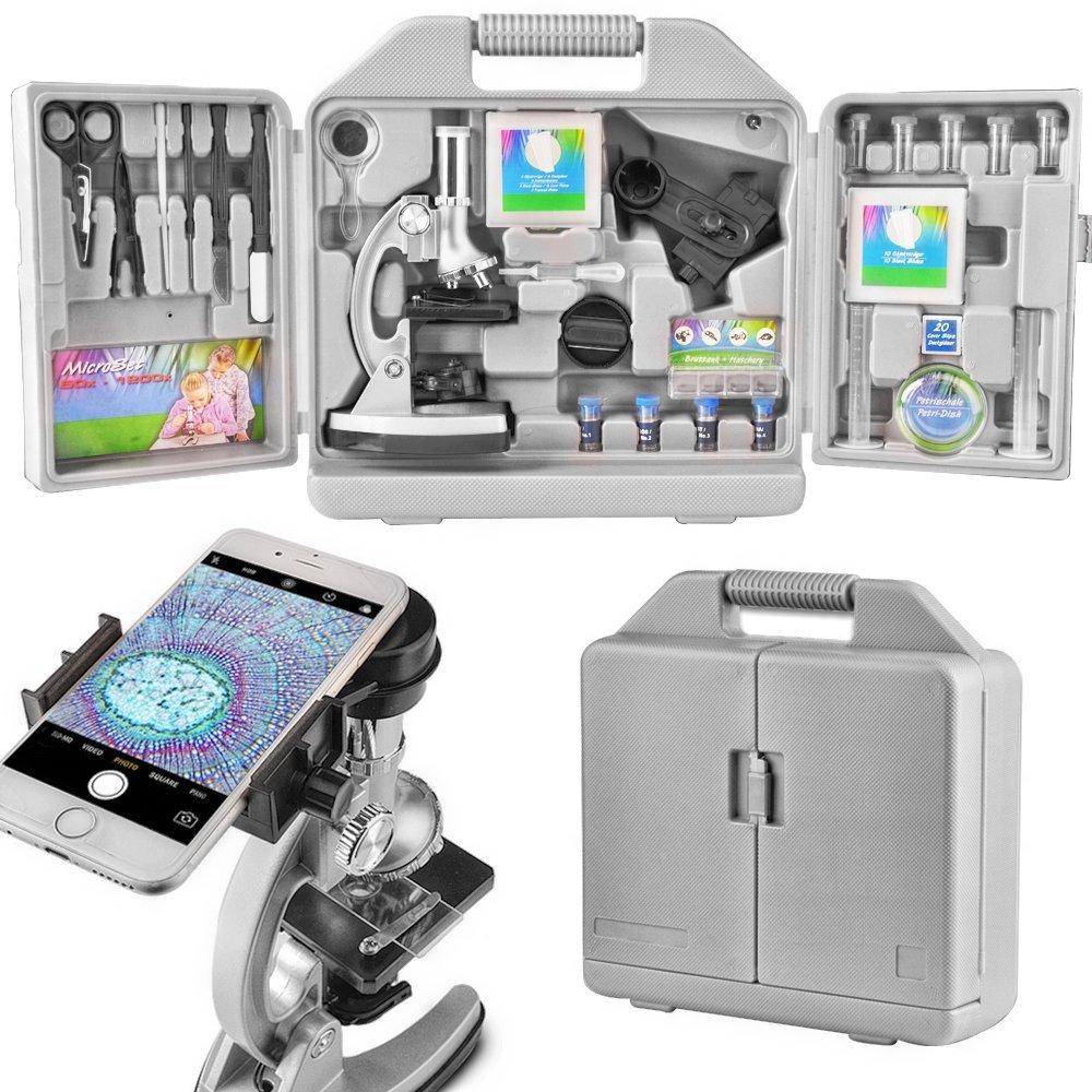 300×600×1200の倍率、アーム70 +アクセサリキットおよびポータブルストレージボックスを含むベース金属とLandove子供や初心者パッケージ顕微鏡 - スマートフォンアダプタでは、