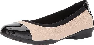 Clarks 女士 Neenah Garden 芭蕾平底鞋 Nde Int Nbk/Blk Pat Lthr 5.5 Wide
