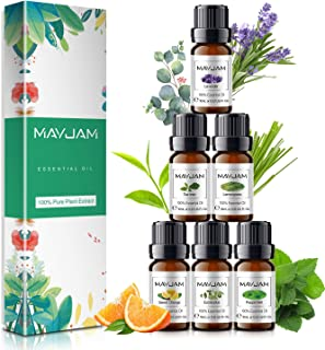 MAYJAM 精油,* 6 种 * 纯疗芳香*油礼品套装 - 6 包/10 毫升用于扩散器,加湿器,按摩,芳香*,皮肤和*护理